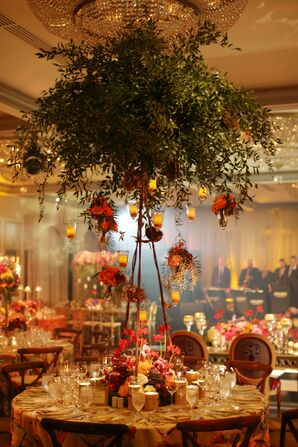 Tall Greenery Centerpieces with Hanging Roses and Candles