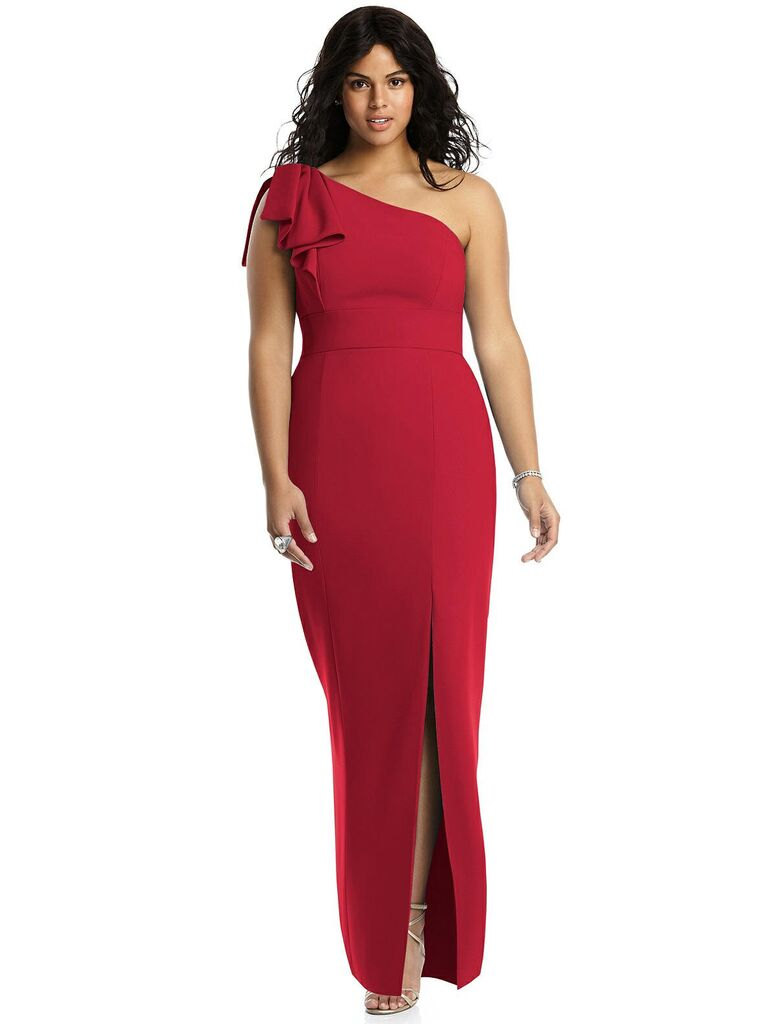Red one shoulder plus size bridesmaid dress