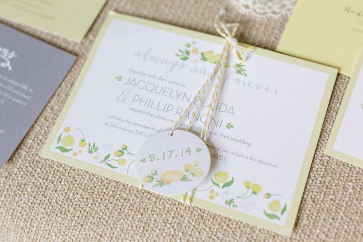 Spring Themed Yellow Wedding Invitation