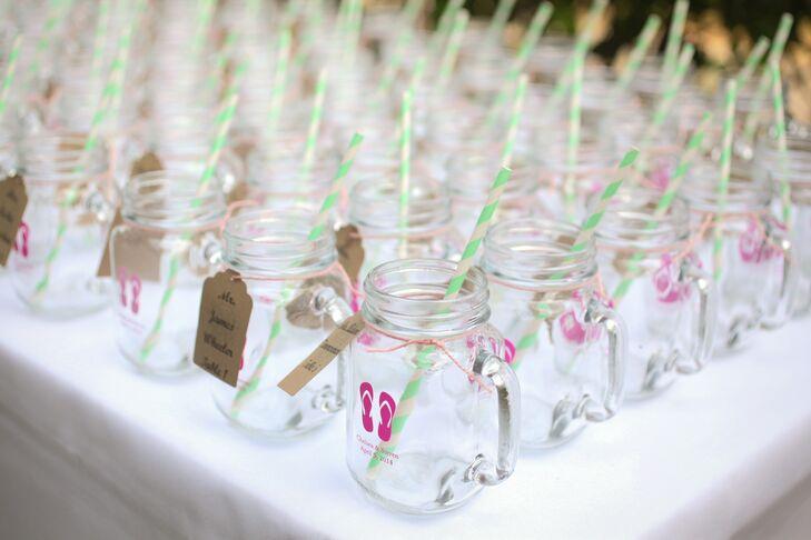 Custom Mason Jar Cups with Flip-Flops