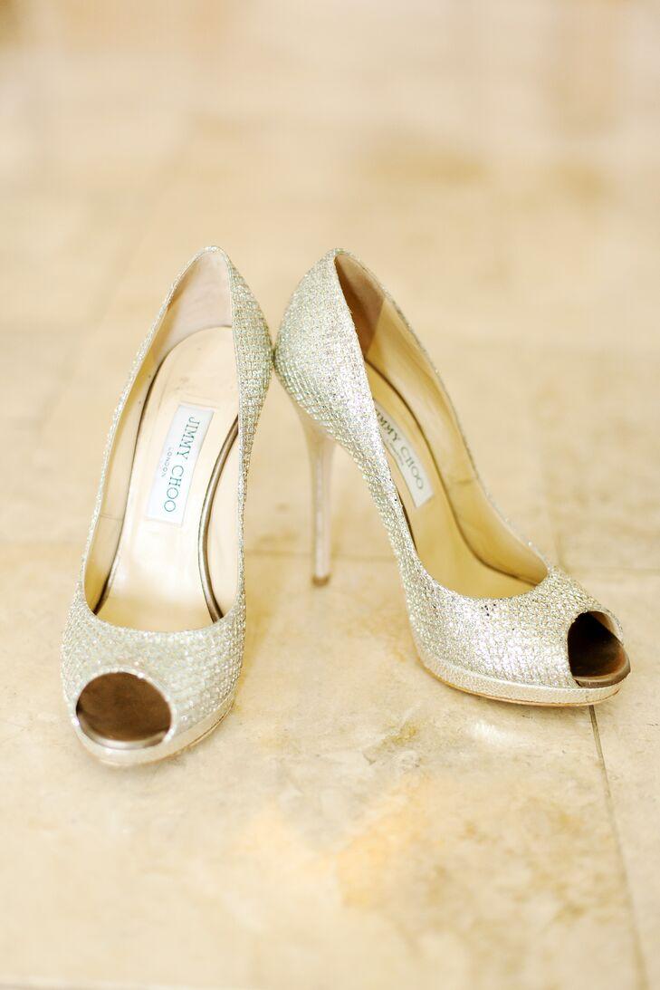 Gold Jimmy Choo Peep-Toe Wedding Shoes