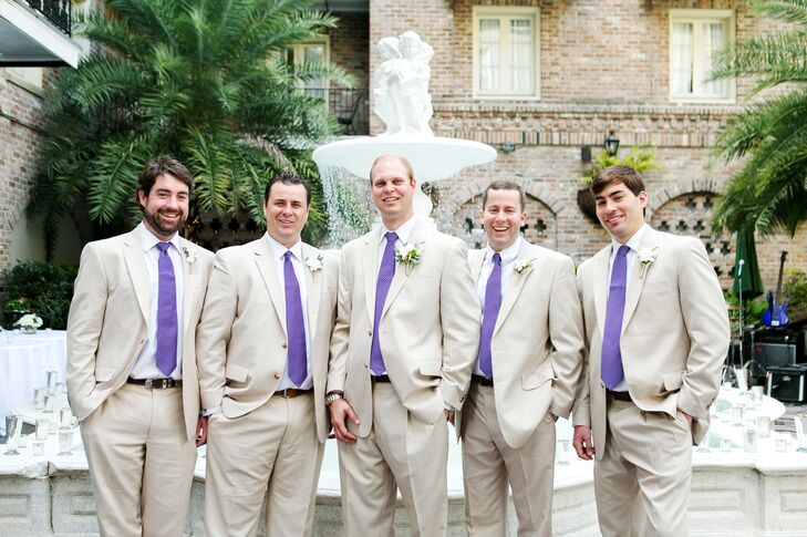 The couple chose light tan suits from JoS. A. Bank and royal purple Brooks Brother ties to add a splash of Rob's favorite color.