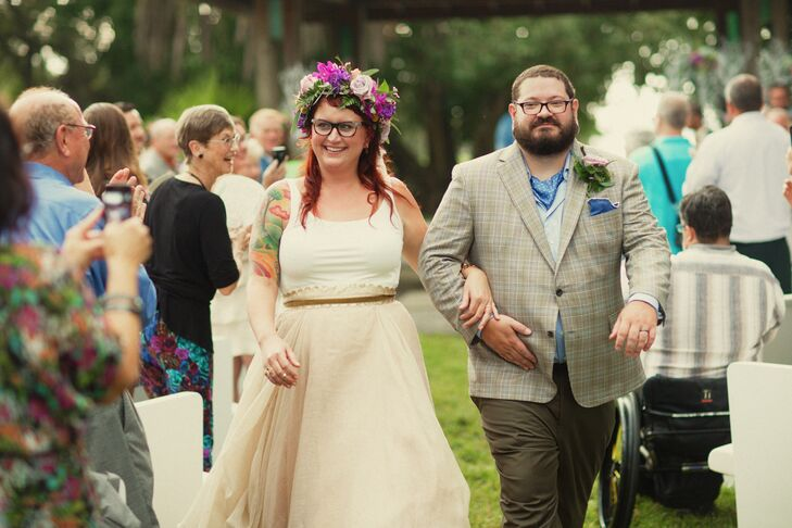 """Annie Egolf (35 and a cosmetologist) and Owen Meats's (33 and chef) garden wedding takes whimsical to a new level. """"We were goin"""