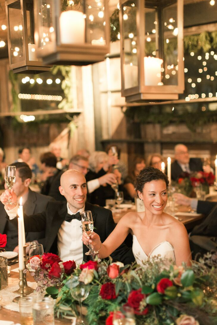 Bride and Groom at Winter Reception at Terrain at Styers in Glen Mills, Pennsylvania
