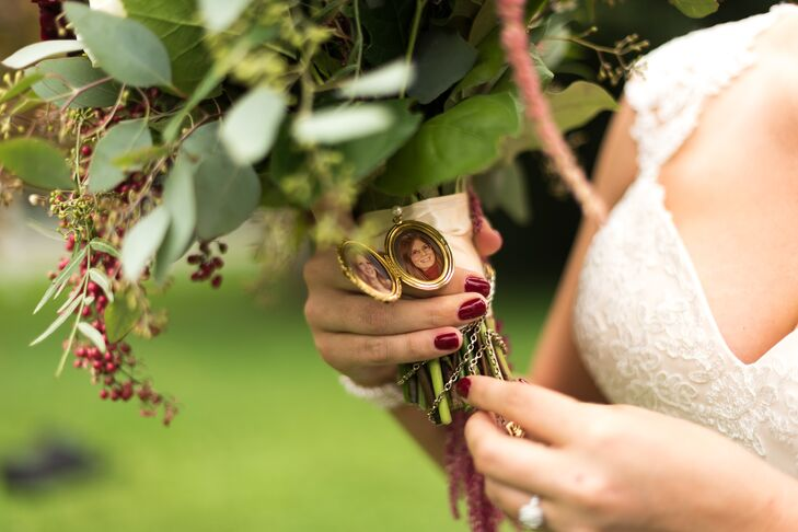 """For a meaningful touch, Sarah added her grandma's locket around her bouquet. """"I just wanted a piece of her with me on my wedding day,"""" she says."""