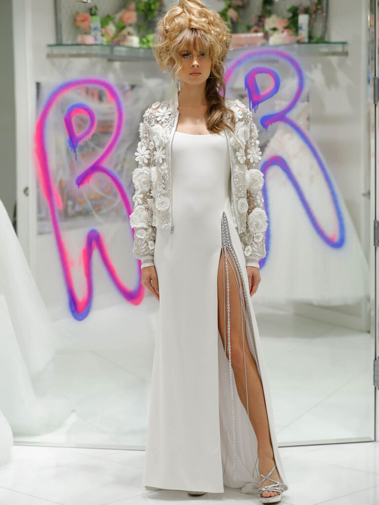 Randi Rahm Fall 2019 Bridal Fashion Week Collection sheath dress with jeweled side slit and floral appliqué jacket