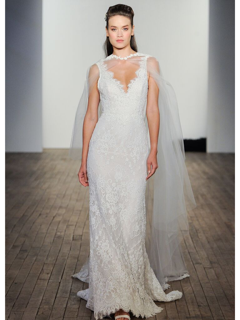 Lazaro lace wedding gown
