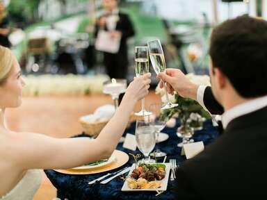 Couple toasting at wedding reception