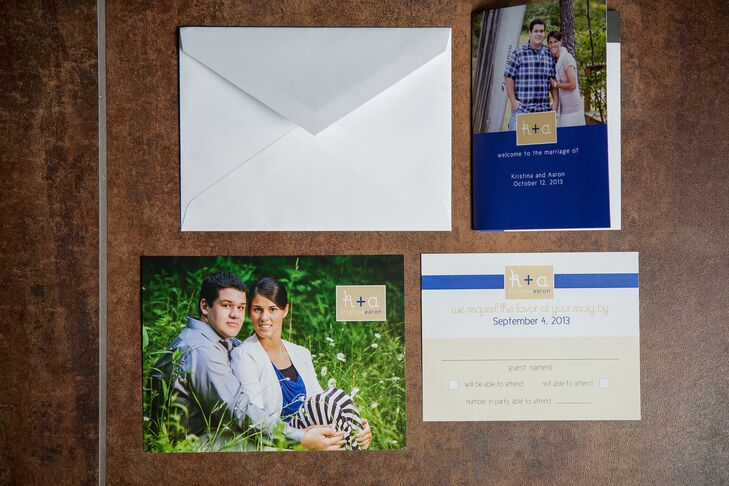 Wedding invitations were personalized to reflect the bride and groom with a photos and gold and royal blue accents, which was the color palette for the wedding.