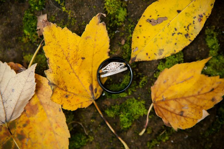 Engagement and Wedding Rings on Leaves