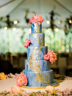 Blue and White Marble Fondant Cake with Gold Accents