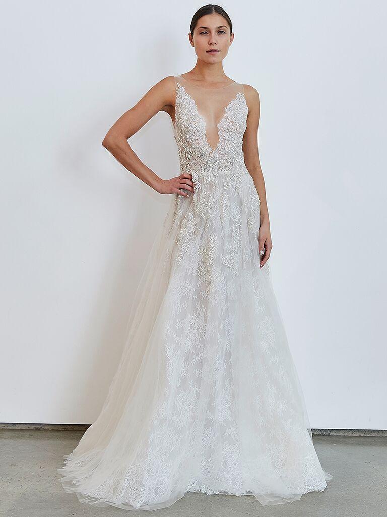 Francesca Miranda A-line wedding dress with V-cut