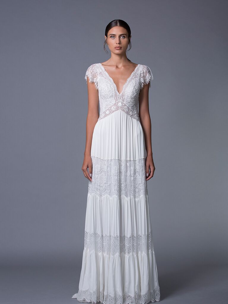 Lihi Hod 'Luella' V-neck wedding dress with lace cap sleeves for Fall 2017