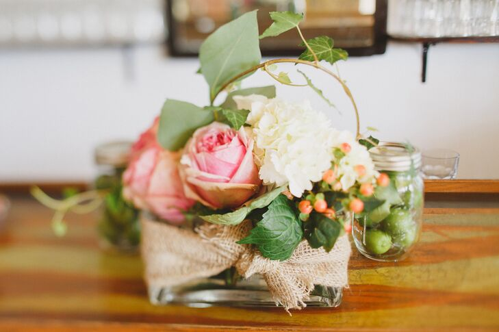 Sage, Pink, and Ivory Floral Centerpiece