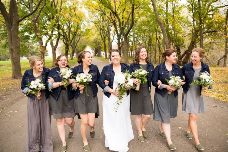 acd5ed9384 Gray Bridesmaids Dresses with Denim Jackets. Favorite.