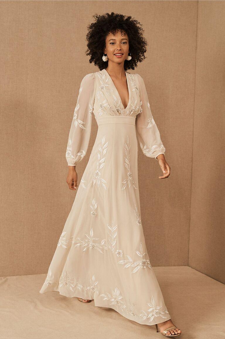 Tadashi Shoji Missy-8 Patchwork Lace Dress - Ivory Petal