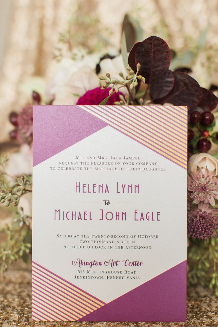 Purple Geometric Art Deco Invitations
