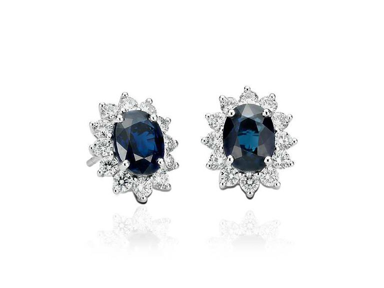 Sapphire and diamond earrings wedding gift for bride