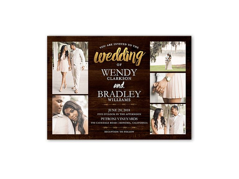 Country wedding invite with photo