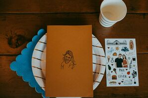 Eclectic Place Setting with Striped Plate, Scalloped Napkin and Personalized Paper Goods
