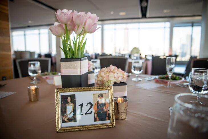 Pink Tulip Centerpiece With Photo Table Numbers