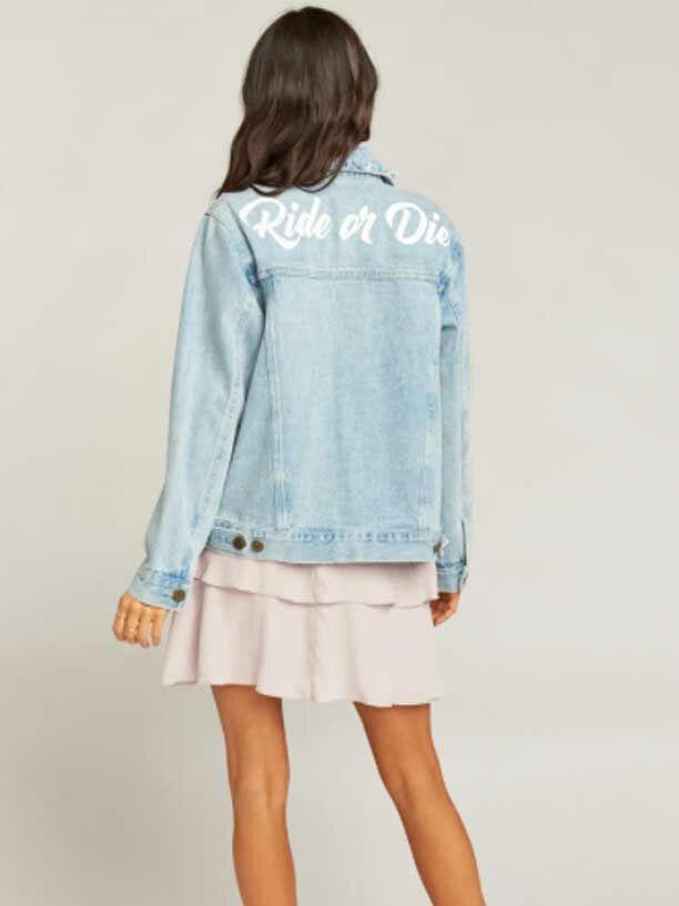 "Light wash ""Ride or Die"" wedding jean jacket"