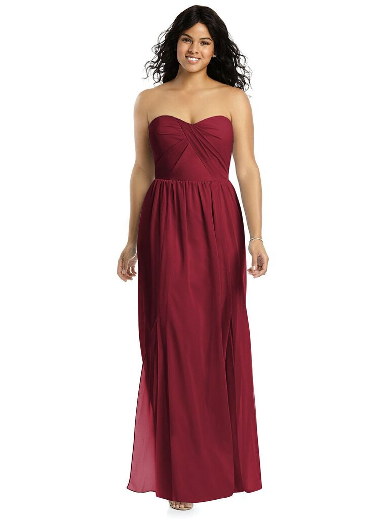 Red strapless plus size bridesmaid dress