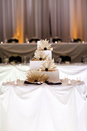 Gold and White Art Deco-Inspired Wedding Cake