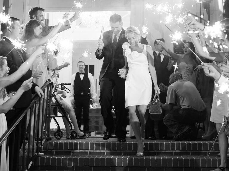 Couple wedding recessional