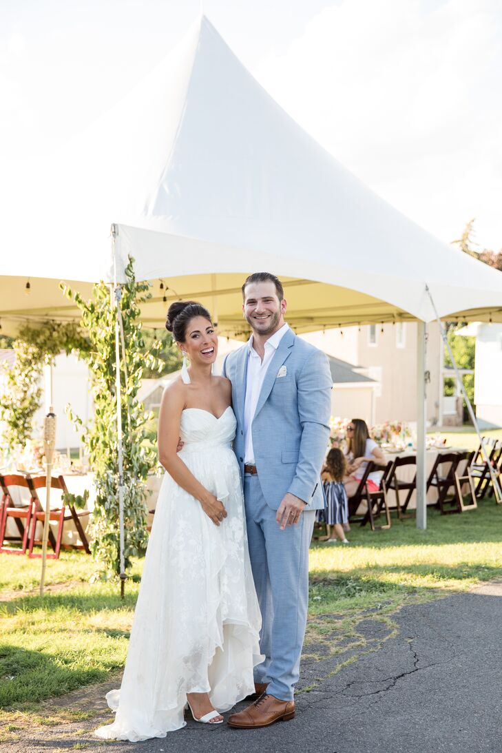 An alfresco engagement party quickly turned into a surprise wedding for Tori Senofonte (28 and a bridal shop owner and floral designer) and Adam Donah