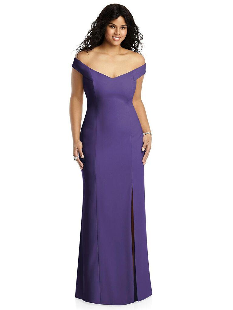 Off the shoulder purple plus size bridesmaid dress