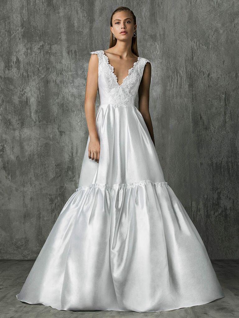 Victoria Kyriakides Fall 2018 wedding dresses with a silk ballgown skirt