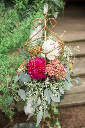 Burgundy Fall Centerpiece With Peonies and Eucalyptus