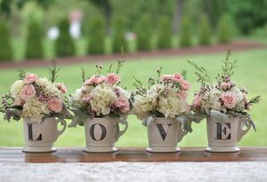 """Low Floral Centerpieces in """"Love"""" Mugs"""