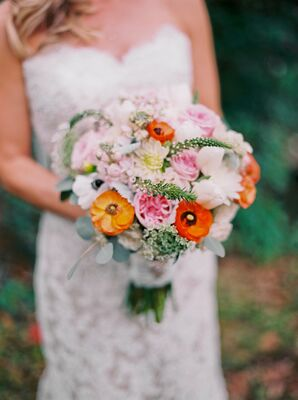 Blush Rose Bouquet With Orange Anemone Accents