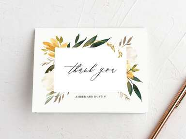 Vintage watercolor floral thank-you card