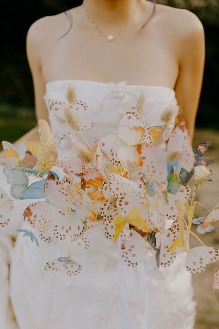Whimsical Bouquet with Paper Butterflies and Bunny Tail Grass