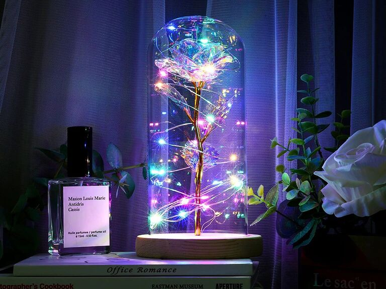 Charming fairytale-inspired galaxy rose sixth anniversary gift