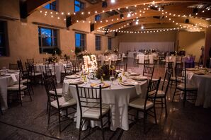 Simple, Elegant Indoor Reception With String Lights