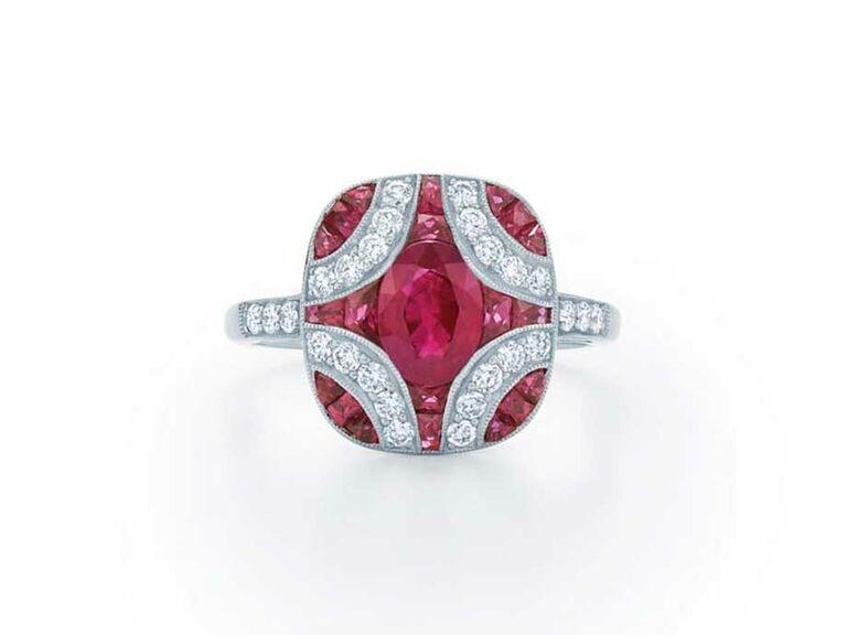 Ruby and diamond argyle engagement ring