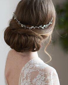 Dareth Colburn Elianna Crystal & Pearl Hair Vine (TI-3366) Silver Headband