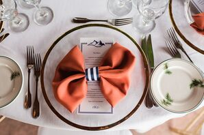 Orange Napkins with Navy Striped Ribbon