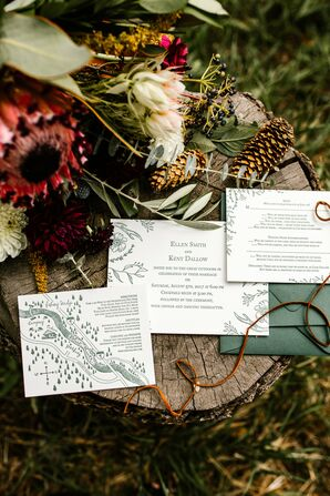 Rustic Invitation Suite with Mountain and Antler Illustrations