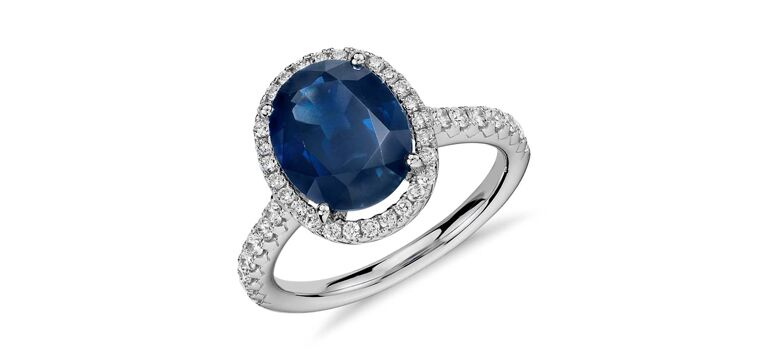 Oval Sapphire and Diamond engagement ring by Blue Nile