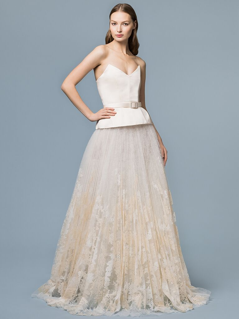 EDEM Demi Couture dress with structured belted top and full lace skirt