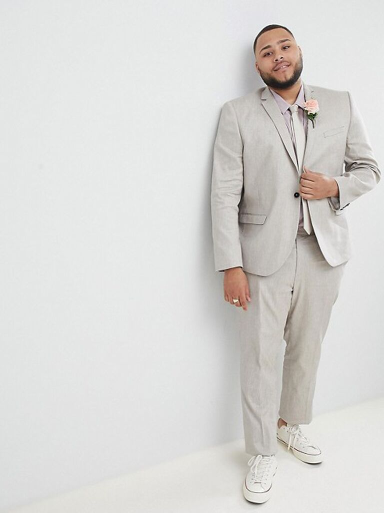 0d0e4112949c Light gray plus size suit men's beach wedding attire