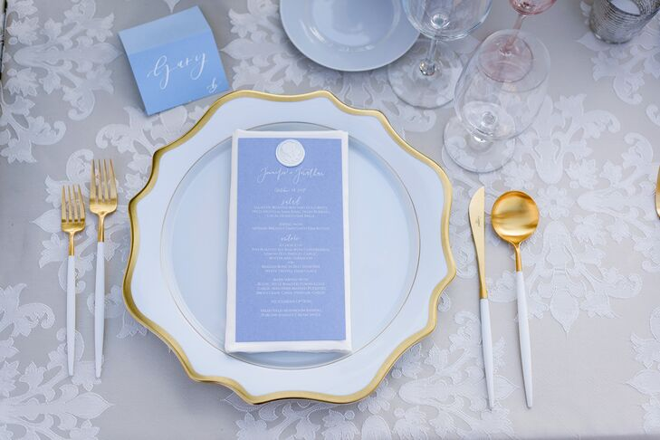 Monogrammed French Blue Menu Cards
