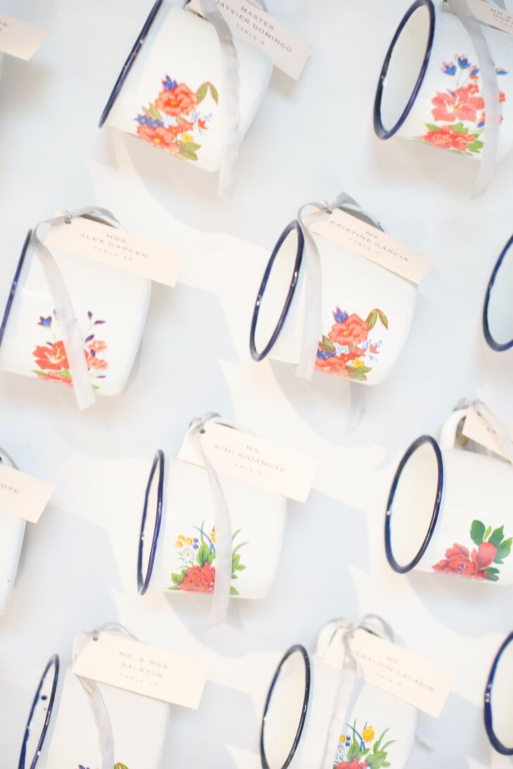 Custom Indian-Inspired Mugs for Wedding at The Winslow in Baltimore, Maryland