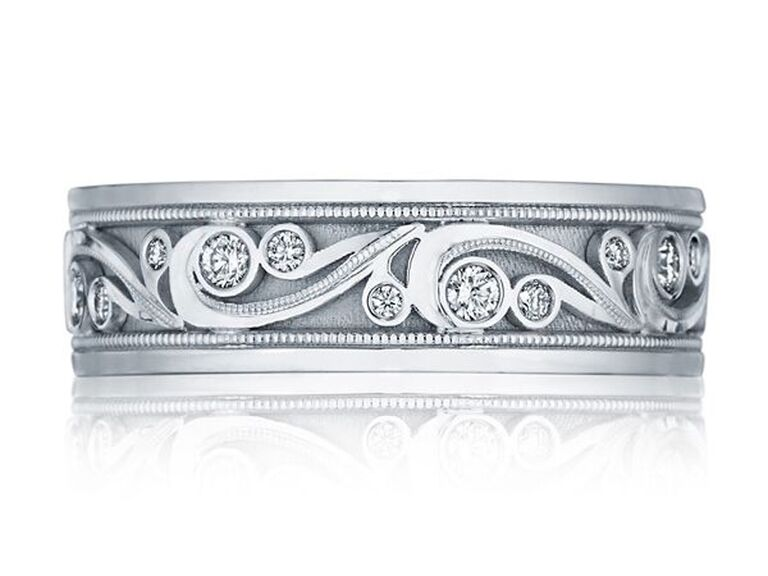 Tacori platinum wedding band with diamonds