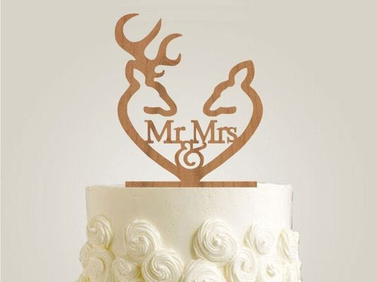 Rustic deer Mr. & Mrs. wedding cake topper